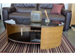 Jual Oval Coffee Table with Black Glass Top