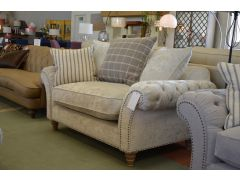 Keaton Snuggler Chair Chesterfield Loveseat Sofa in Beige Velvet