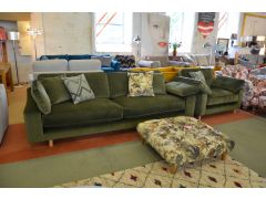 Prototype Green Velvet Four Seater Sofa and Armchair Suite
