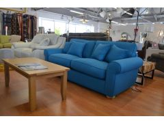 sofas Ribble Valley ex display sofa blue fabric Clitheroe furniture outlet store just off the A59 near Loom Loft - but much cheaper!