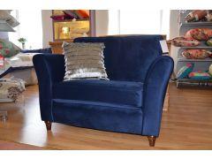 Ashbourne Snuggler Chair in Bentham Midnight Blue Velvet