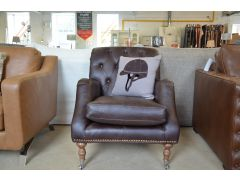 Apache Leather Armchair in Dark Brown Buttonback Design