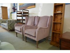 Pair of Wingback Armchairs in Lilac Plus Velvet Set of Two Chairs