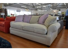 Extra Large Linen Sofa with Pink and Beige Scatter Back Cushions