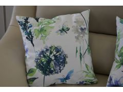 Pair of Green & Blue Floral Cushions with Fillers