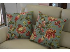 Pair of Indian Style Birds and Flowers Cushions with Fillers
