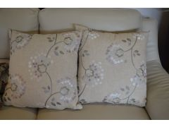 Pair of Beige and Lilac Floral Cushions with Fillers