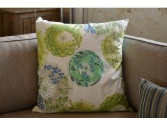 Pair of Large Green Botanic Circle Cushions with Fillers