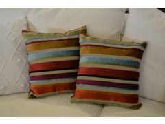 Pair of Multicolour Velvet Stripe Cushions with Fillers