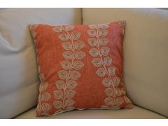 Pair of Coral Leafy Cushions with Fillers