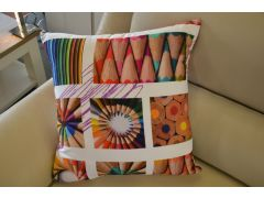 Pair of Large Purple & Green Art Attack Cushions with Fillers