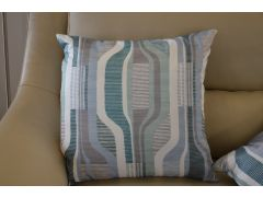Pair of Large Blue, Teal & Grey Pattern Cushions with Fillers