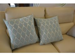 Pair of Duck Egg Geometric Pattern Cushions with Fillers