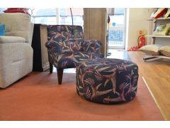 Joseph Armchair and Round Footstool in Hummingbird Fabric