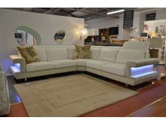 Lucido Corner Sofa in Italian Velvet Fabric with Light Up Shelves and Slide Out Seats