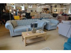 Maddox Chesterfield 3 Seater Sofa and Armchair in Pale Blue Velvet