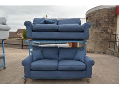 ex display sofa Madison blue Fabric Two Piece Suite sofas Lancashire Clitheroe off the A59 near Loom Loft - but half the price!