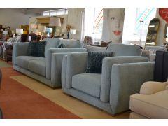 ex display sofas Lancashire Blue fabric suite