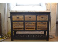 Metal Top Sideboard with Drawers Industrial Chic Style
