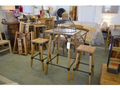 Mill Industrial Bar Table Set with Two Bar Stools