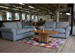 ex display sofas Blue Lancashire grey fabric suite two piece settee set clearance sale Clitheroe Lancashire just off the A59 near Loom Loft - but much cheaper!