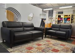 Moderno Black Leather Two Piece Suite
