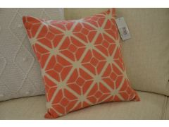 Pair of Mono Cuba Scatter Cushions in Coral with Fibre Fillings