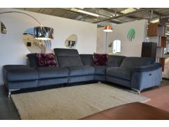 Pablo velvet corner sofa with recliners ex display sofas Lancashire discount sofa outlet shop with fast delivery