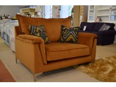 Moda Snuggler Chair in Yellow Ochre Velvet with Grey Cushions