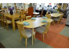 Oslo Retro Dining Table and 4 Windsor Dining Chairs in Oak