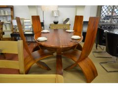 Oval Globe Dining Table and Four Cross Chairs