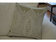 Pair of Paisley Scatter Cushions in Beige with Fibre Fillings