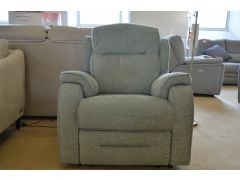 Boston Fabric Armchair with Manual Recliner in Blue Grey Fabric