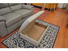 Large Storage Footstool in Stone Herringbone Fabric