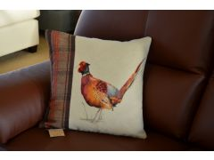 Pair of 2 Painted Pheasant Cushions with Green Tartan by Evans Lichfield