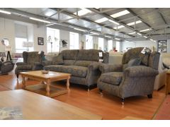 Oakham Large Sofa and Two Armchairs in Blue Motif Fabric