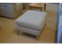 Pale Grey Fabric Footstool Retro Scandinavian Style