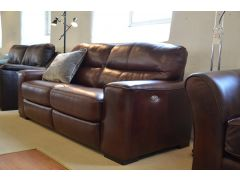 Amadeus 2 Large 3 Seater Sofas in Brown Leather One with Electric Recliners