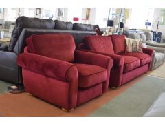 Red Velvet Three Seater Sofa and Matching Armchair