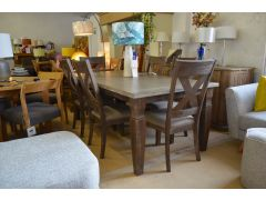 Large Dining Table and Six Chairs Extending Rustic Style Set
