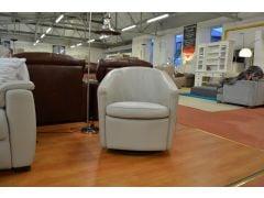 Rocking Swivel Armchair in Grey Italian Leather