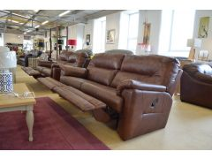 Shalbourne 3 + 2 Two Piece Suite Brown Leather Recliners