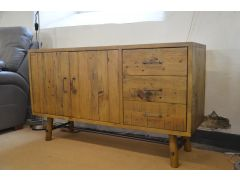 Industrial Sideboard in Solid Pine and Metal