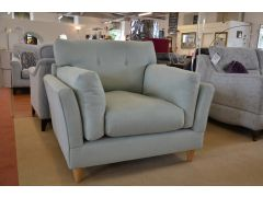 Slouch Accent Armchair in Duck Egg Blue Fabric
