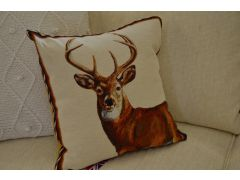 Pair of Stag Tapestry Cushions with Fibre Filling