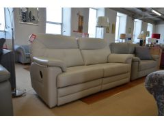 Stanton 3 Seater Sofa with Twin Manual Recliners in Cream Leather