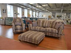 Knole Sofa, Armchair and Footstool Set in Mauve Handmade in Britain