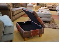 Tartan Storage Footstool Purple and Green