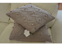 Pair of Taupe Argyll Large Scatter Cushions in Hand Knitted Cotton