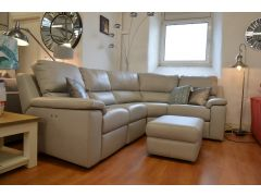 Taylor Reclining Corner Sofa in Grey Leather with Electric Recliners